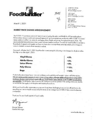 Food Handler- April 2021