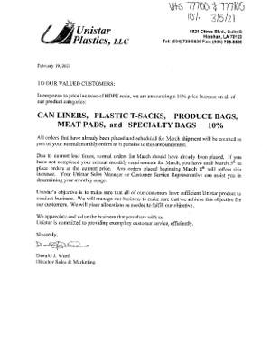 Unistar Plastics- March 2021